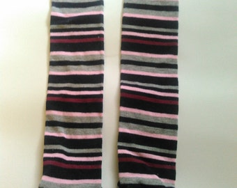 Pink and Maroon Striped Leg Warmers