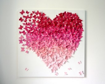 Butterfly Wall Art-Ombre Collection-Wall Art- Extra Large 3d art collage