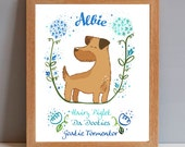 Border Terrier Personalised Dog Print - Ideal gift for dog lovers - Add your pets name