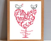 Personalised Wedding Name and Date Gift Print, 'All you need is Love' Wedding Lovebirds Gift Print