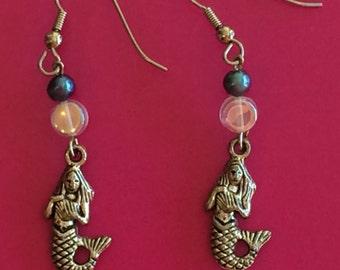 Mermaid earrings with freshwater black pearl