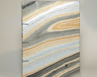 Gold and Silver Marbled Notebook