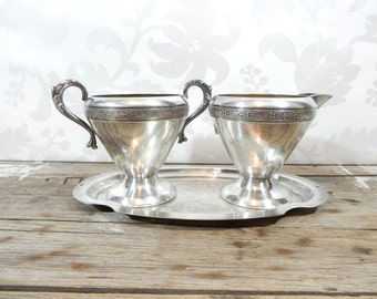 Polished Silverplate Cream and Sugar Bowl with Tray, Silverplated by Essay Canada and Viking Plate, EP Brass Canada, 1940's