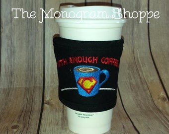 Ready to ship! Black Superhero Coffee Tea Insulated Cafe Cozy Wrap - Embroidered - Go Green