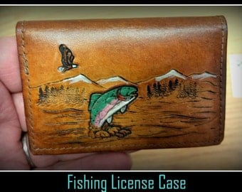 Leather Fishing License Case, wallet, holder, can take your Drivers License, credit card and some cash, leave your big wallet at home.