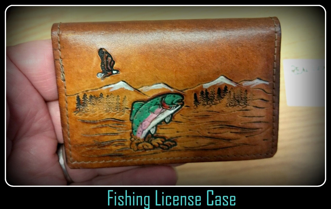 Leather fishing license case wallet holder can take for Il fishing license