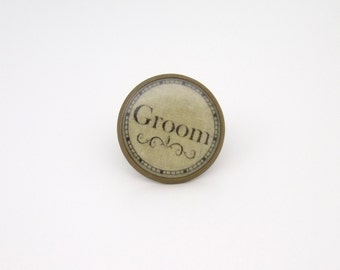 Wedding Tie/Lapel Pin Groom in Antique Bronze Finish
