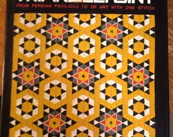 Trianglepoint by Shirlee Lantz, Hard Cover Book 1978, From Persian Pavilions to Op Art with One Stitch