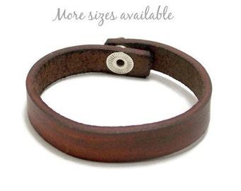 Brown Leather Bracelet, Half Inch Leather Bracelet, Leather Cuff Bracelet, Gifts Under 8
