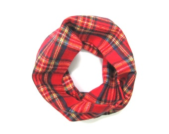 Kids Red Plaid Scarf, Flannel Scarf, Unisex Scarf, Child's Winter Scarf, Child Holiday Scarf, Baby Bib Scarf, Toddler Gift, Ready to Ship