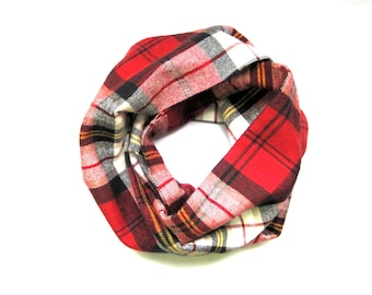Red and Black Plaid Toddler Scarf Child Flannel Scarf Unisex Scarf Baby Shower Gift Winter Baby Scarf Bib Scarf Tan Cream Gold Ready to Ship