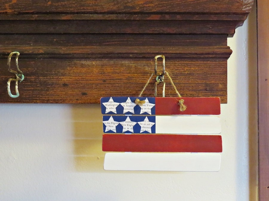 Small Wooden American Flag Wall Decor With Paper Cutout Stars