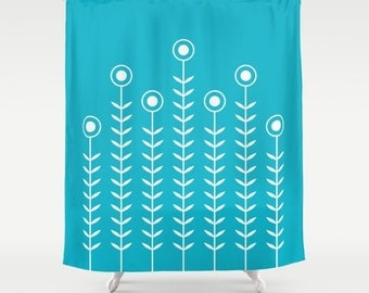 36 colours, Scuba Blue, Minimalist Flowers Shower Curtain, Scandinavian style, geometric shower curtains, flower pattern bathroom decor