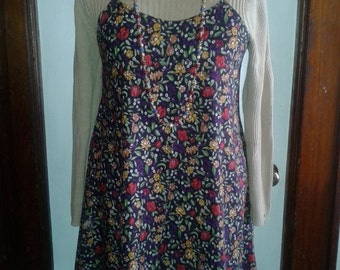1990s Baby Doll Floral Slip Dress- size S/M