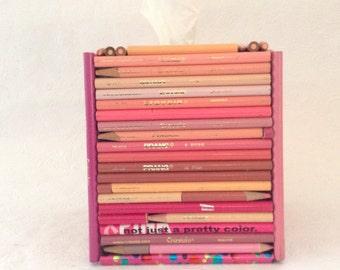 Tissue Cover - repurposed pencils - Pencil Tissue Cover - Bathroom Decor - gift idea - Upcycled Pink Pencils - Home Decor - kids room decor