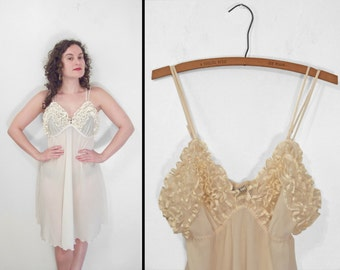 Ruffled Bodice Slip Dress 1990s Erika Taylor Intimates Ivory Spaghetti Strap