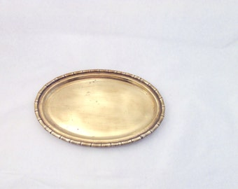 Solid Brass Oval Tray with a Chinoiserie Faux Bamboo Edge Detail