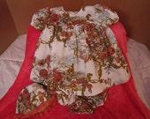 "Vada Mae Dress, Sun Bonnet, Panties, baby dress, size small, 13-17lbs., 25-26"" tall"