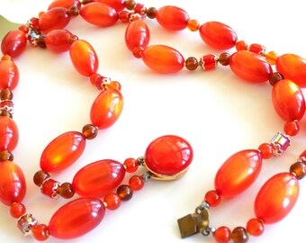 Vintage Orange Beaded Double Strand Necklace Moonglow Lucite and Faceted Beads Signed Japan