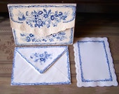 """Vintage 90's """"CAROL WILSON""""  Note Cards With Matching Envelopes Scalloped Edges in Royal Blue Florals"""