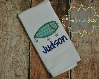 Fishing Lure/Bait  Monogrammed and Appliqued Burp Cloth