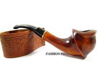 "Fashion Tobacco Smoking Pipe ""KORTES"" Wooden Pipe  Engraved. Handcrafted Pipe - Best Price in FPS"