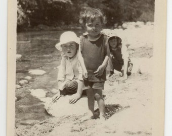 Victorian Children At Carmel Valley River Wearing Swimsuits Antique Photograph Historical California Paper Ephemera Vintage Photo