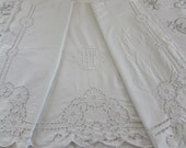 Amazing antique French pure linen monogrammed, B T  hand embroidered huge dowry sheet.  Paris apartment, cottage chic