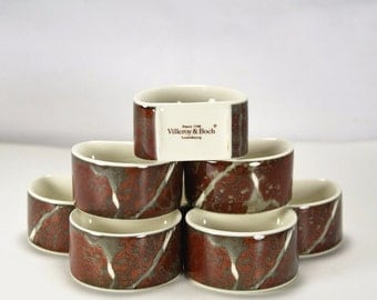 Villeroy & Boch ~ Luxembourg ~ Napkin Ring Holders ~ Red/Burgundy/Grey/White 8 Piece