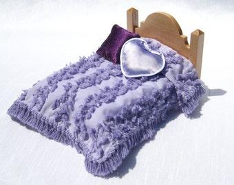 Dollhouse Bedspread Miniature Chenille Bedspread Lavender Dollhouse Blanket 12th Scale Bedding Small Doll Bedding Mini Chenille Bedspread