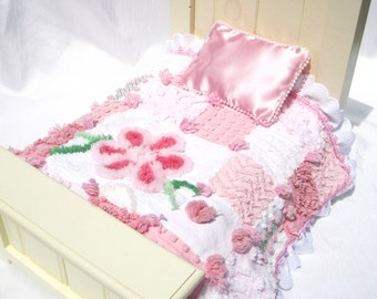 """Small Doll Quilt Pink Chenille Quilt for 14"""" Doll Car Seat Blanket Small Doll Quilt Doll Blanket Pink Doll Quilt Lovey Security Blanket"""