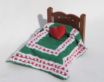 Dollhouse Christmas Bedspread Miniature Chenille  Bedspread Red, Green Small Doll Bedding Small Doll Bedspread Mini Full Size Bedding