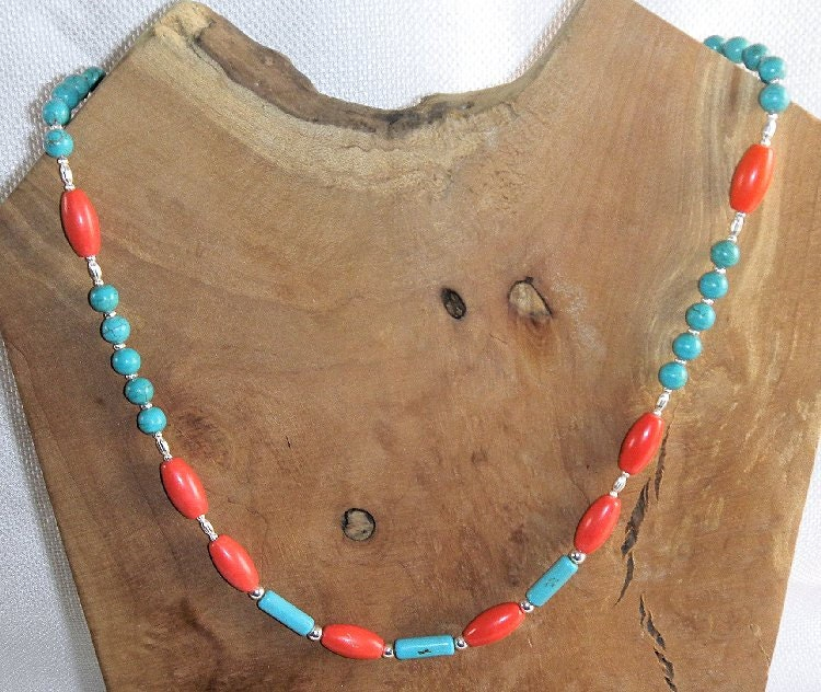 Versatile turquoise coral necklace with toggle clasp wear for Jewelry to wear with coral dress