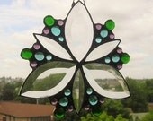 Stained Glass Art|Stained Glass Suncatcher|Beveled Glass Suncatcher|Jewel tones|Stylized Flower|Handcrafted|Made in USA