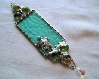 Stained Glass Suncatcher Sea Turtle Suncatcher Sea Turtle Seafoam Swarovski Crystal Art & Collectibles Glass Art Handcrafted Made in USA