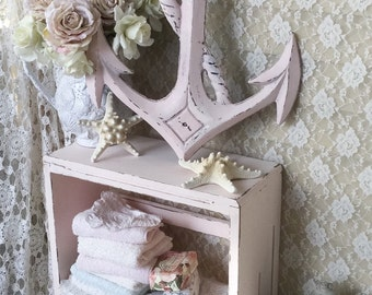 Shabby Nautical Anchor, Pink Metal Anchor, Vintage Beach Cottage Decor, Metal Anchor sign, shabby cottage chic, fanny pippin