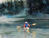 Watercolor ORIGINAL-Saturday Morning-kayak, lake, leisure,canoe,boat,forest