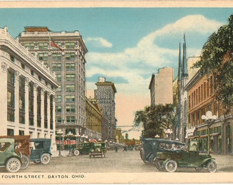 Vintage Postcard, Dayton, Ohio, West Fourth Street, ca 1930