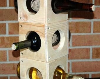 "Unique Wine Storage 5 1/2"" Wood  Rack Square or Kitchen Vinegar Storage Stackables"