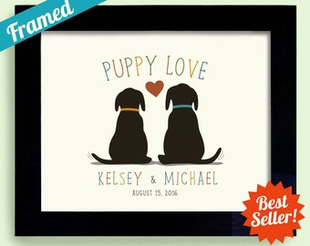 Dog Wedding Gift Idea Puppy Love Labrador Retriever Unique Engagement Gift Personalized Framed Gift Art Print Couples Gift Newlyweds
