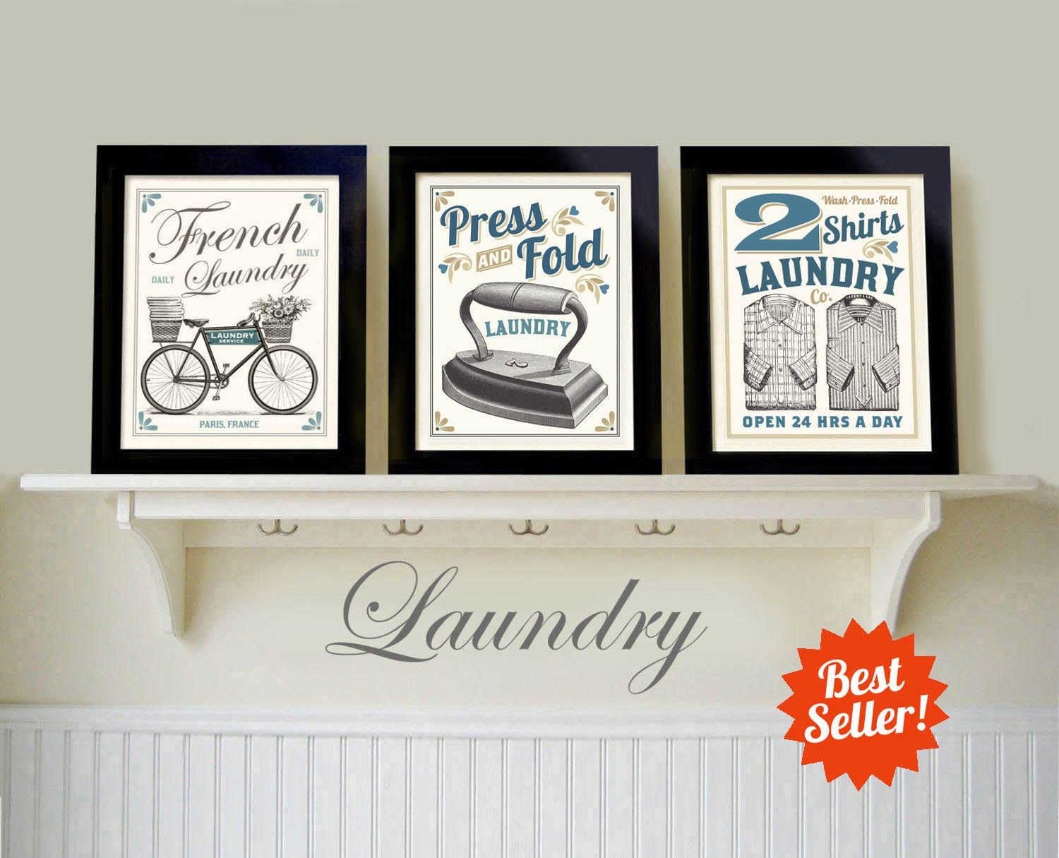 Laundry sign laundry room art set 3 prints art for laundry for Room decor signs