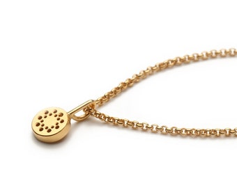 Tiny dot charm necklace in 18k gold filled silverchain