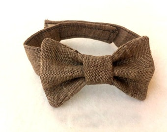 Boys Bow Tie, linen bow tie, baby boy photo prop, baby bow tie, brown bow tie, toddler bow tie, brown photo prop, ring bearer