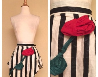 ON SALE Vintage 1950s 1960s Apron Rockabilly Pinup Housewife 50s 60s Americana Kitchen Black and White Stripe with Red Rose