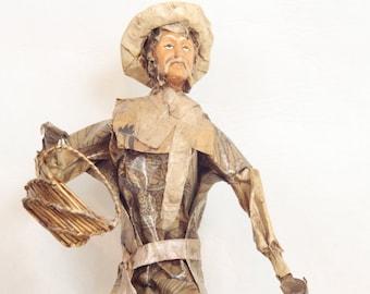 Vintage Mexican Paper Mache Folk Art Doll // Man Carrying Two Baskets // Folk Art Figurines // Souvenir // Statues