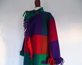 JEAN MUiR . Colorblock Cocoon . One Size  . Pure Wool Flapper Coat  20s 70s 1970s