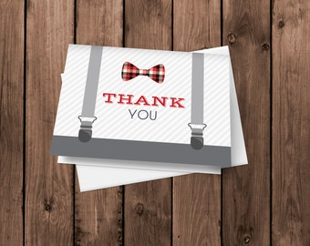 Little Man Plaid Lumberjack Bow Tie and Suspenders - Thank You Card - Notecards - Stationery