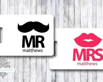 mr & mrs luggage tag - personalized bag tag - bride/groom - honeymoon - wedding - custom tags