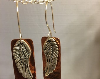 Angel Wing Earrings Mixed Metal Jewelry Steampunk Guardian Angel Great Christmas Gift Biker Bling Handmade Metalsmith