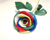 Rainbow Leather Rose -Black leather rose - red Long Stem leather rose- 3rd Gift anniversary
